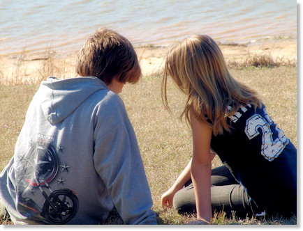 Talking by the lake.