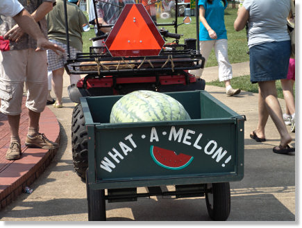 Giant Watermelon in All Terrain Vehicle Trailer