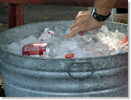 Tub full of ice!