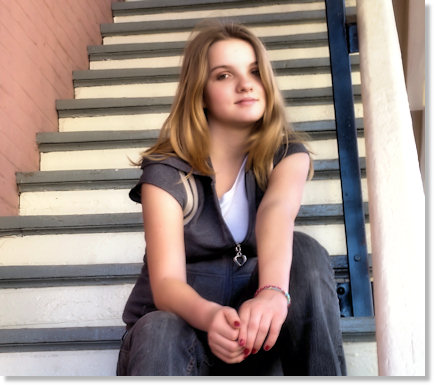 Haley waiting on the steps.